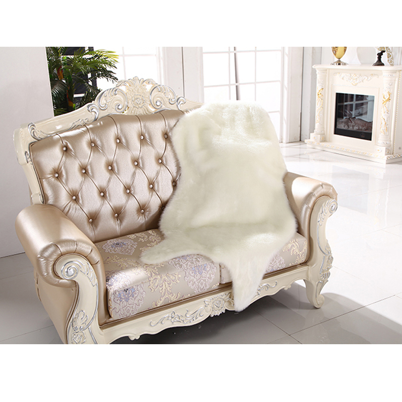 Artificial Skin Fluffy Fur Chair Seat Cushion Sofa Cover Carpet Mat Pad Area Rug Bedroom Home Decorative Plain White Gray Purple