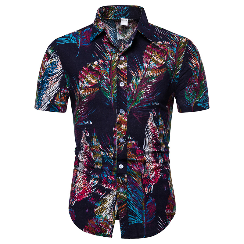 2019 NEW Fashion Men Summer Men Shirt Bohe Floral Short Sleeve Linen Basic Blouse Top Plus Size Daily Freeship Camisa Masculina