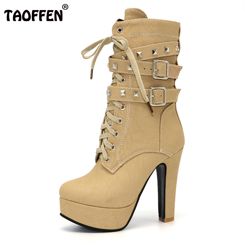 TAOFFEN Women Shoes Women Boots Middle Calf Winter Shoes Plush Zipper Rivets High Heeled Casual Fashion