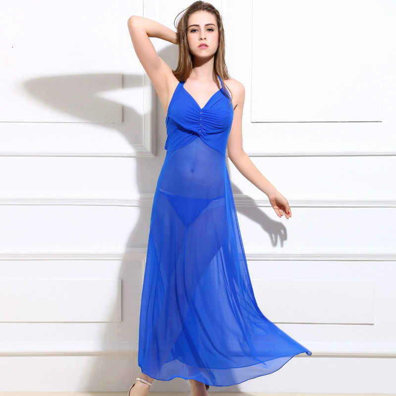 Sexy Slip Long Lace Nightgown See Through Mesh Red Blue Purple Black White  Rose Red Sleep 91dae56d0552