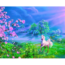 White horse flowers diamond Embroidery diy painting mosaic diamant 3d cross stitch pictures H588