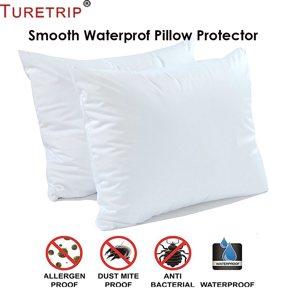 Turetrip 1PC 50X70CM Cover For Pillow Waterproof Pillow ProtectorAnti Mites BedBug Proof Zipper Pillow Cover Allergy Pilow Case(China)