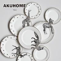 2 Pcs Aimal Combined Plates Ceramic Plates Wolf Elk Giraffe Zebra Plates 8 Inch 6 Inch