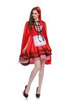 M L XL Little Red Riding Hood Costume for Women Fancy Adult Halloween Cosplay Fantasia Dress+Cloak Cosplay Costume For Party