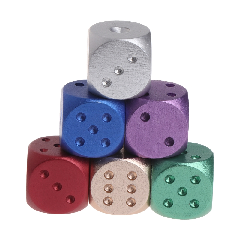 Dices Aluminum Polyhedral Metal Solid Club Bar Dice Playing Game Tool 16X16X16mm