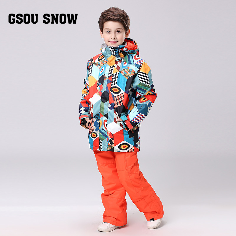 GSOU SNOW Winter Children Clothing Sets Windproof Boys Ski Suit Warm  Boys Ski Jackets+Kid Clothes Set 2016 winter boys ski suit set children s snowsuit for baby girl snow overalls ntural fur down jackets trousers clothing sets