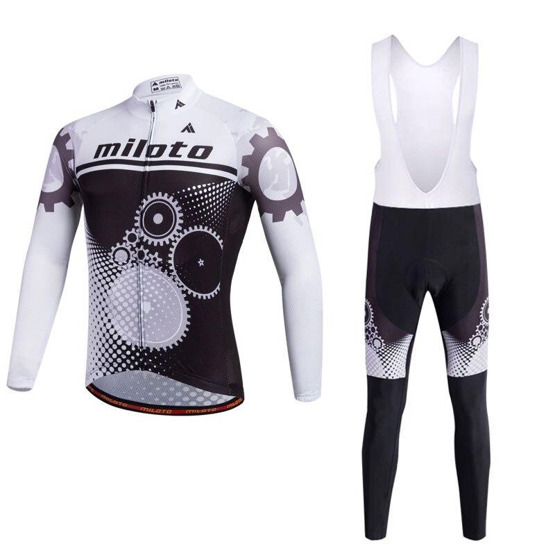 MILOTO 男性のサイクリングジャージセット長袖ジャージプロチームサイクリング衣類ロードバイク & Mtb 乗馬アパレル Ropa ciclismo -