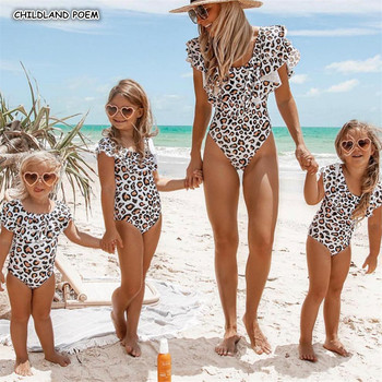 Mother And Daughter Swimsuit 2019 Ruffle Leopard Mom Daughter Swimwear Family Look Mommy And Me Bikini Family Matching Clothes