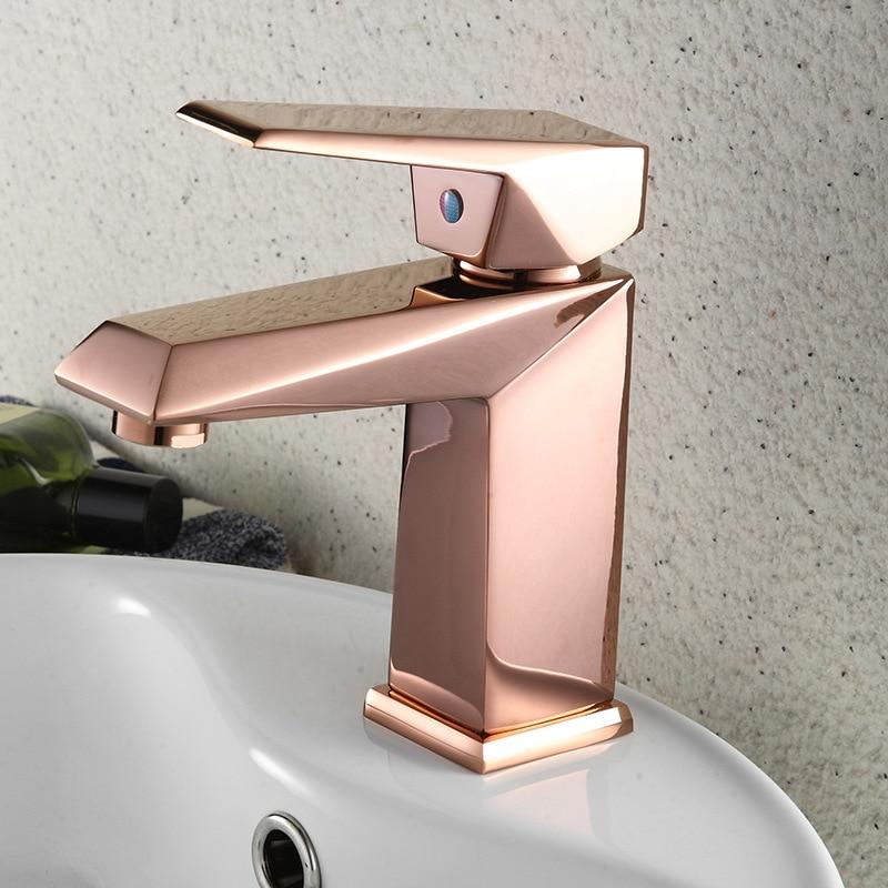 Стильный мини кран для ванной комнаты, элегантный кран для раковины с одной ручкой, цвета розового золота, смесители для раковины, кран с ква