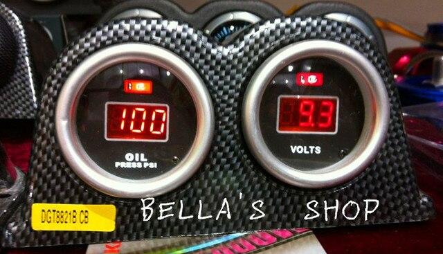 combination meter set DIGITAL VOLT+oil press+carbon double pod