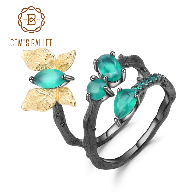 GEM S BALLET Original Handmade 925 Sterling Silver Vintage Rings Natural Green Agate Butterfly Ring for