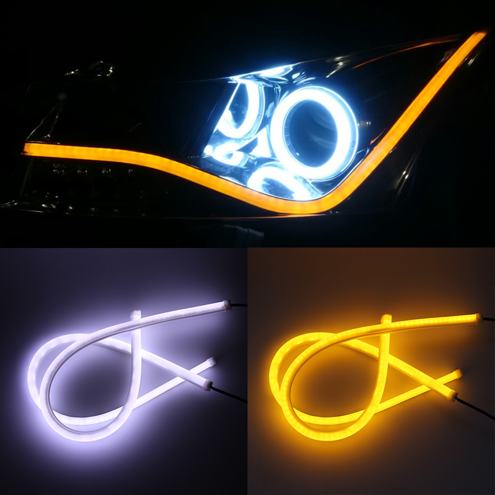 2PCS DRL LED Daytime Running Light  Daylight White Yellow Red Blue crystal Tube Flexible LED Strip DRL Switchback Headlight Lamp sunkia 45cm white red yellow blue white yellow flexible headlight daytime lamp switchback strip angel eye drl decorative light