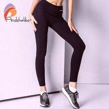 Andzhelika Yoga Calças 2018 Novas Mulheres Respirável Execução Calças Elastic Esporte Leggings de Fitness Jogging Yoga Leggings Calças de Treino