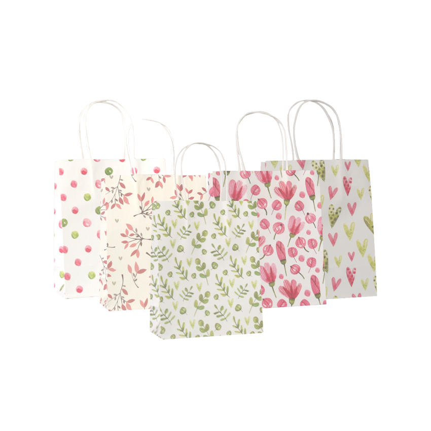 50 Pcs/lot Sweet Flower printed  kraft paper bag Festival gift  bags Paper bags with handles children gift bags 18x15x8cmGift Bags