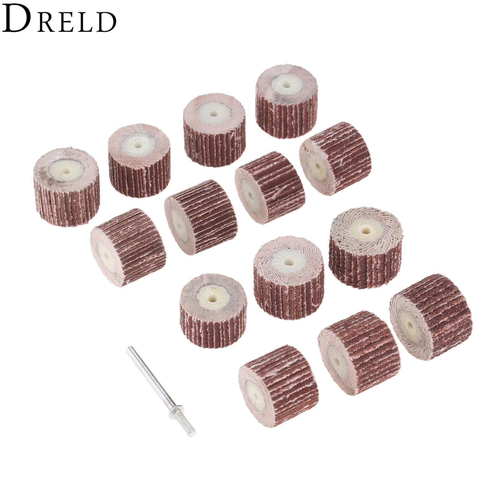 DRELD 10Pcs Dremel Accessories 20mm Grinding Sanindg Flap Wheel Brushes For Rotary Mini Drill Polish Tool With Mandrel 3mm Shank