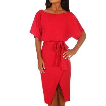 Hot 2019 Summer Dress Work Office Short Sleeve O-Neck Elegant Ladies Bodycon Bandage Belt Slim Party Dress Vestidos Plus Size 3