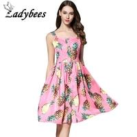 LADYBEES Fashion Pineapple Dress Fruit Printed Designer Summer Dresses Women Sleeveless Beach Boho Wear Pink Color