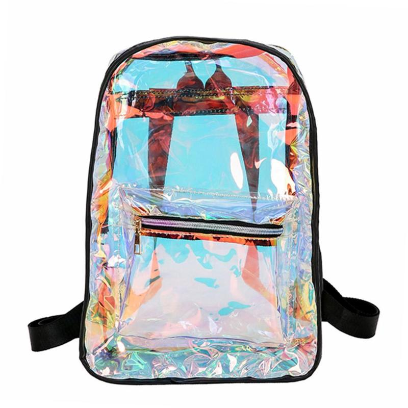 Street Style Backpack Women Pvc Transparent Laser Hologram Leather Anti Theft  Backpack Girls Casual Zipper Shoulder Bags