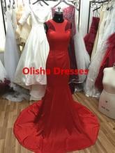Real Sample Sexy Red Prom Kleider 2016 Oansatz Sleeveless abendkleid lang Mermaid Abendkleid Reißverschluss vestido de festa longo
