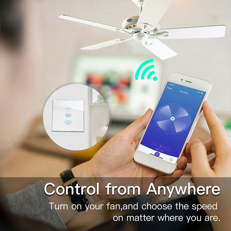 US/AU WiFi Smart Automation Module Ceiling Fan Switch APP Remote Timer and  Speed Control Compatible with Alexa and Google Home