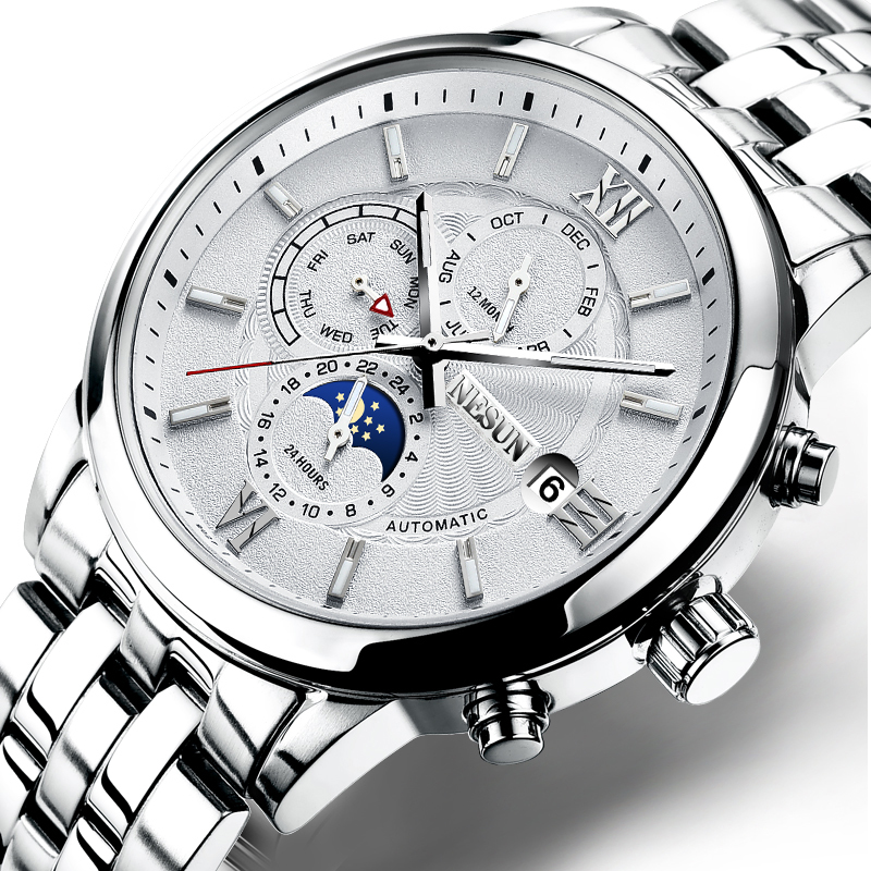Switzerland Watch Men Nesun Luxury Brand Men Watches Automatic Mechanical Sapphire Moon Phase Watch 30M Waterproof N9027 6|Mechanical Watches| |  - title=