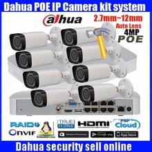 Original english Dahua 8CH 1080P POE NVR4116-8P kit with 4MP IP camera IPC-HFW4431R-Z 2.8-12mm bullet Surveillance CCTV System