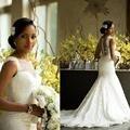 Africano de luxo Sereia Vestidos de Casamento Do Laço 2016 Incrível Botões Cobertos de Volta de Noiva Vestidos de Noiva Capela Trem MB40