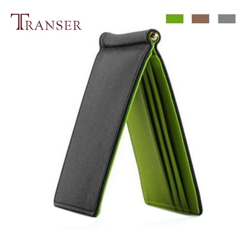 TRANSER Mens Leather Silver Slim Wallets Black ID Credit Purse Card Holder Coin Bag High Quality Women Solid Famous Designer