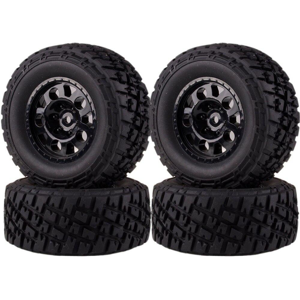 1182-17B 4 pièces jante de roue avant et arrière et pneus pour 1/10 RC Traxxas Course courte camion Slash 4x4