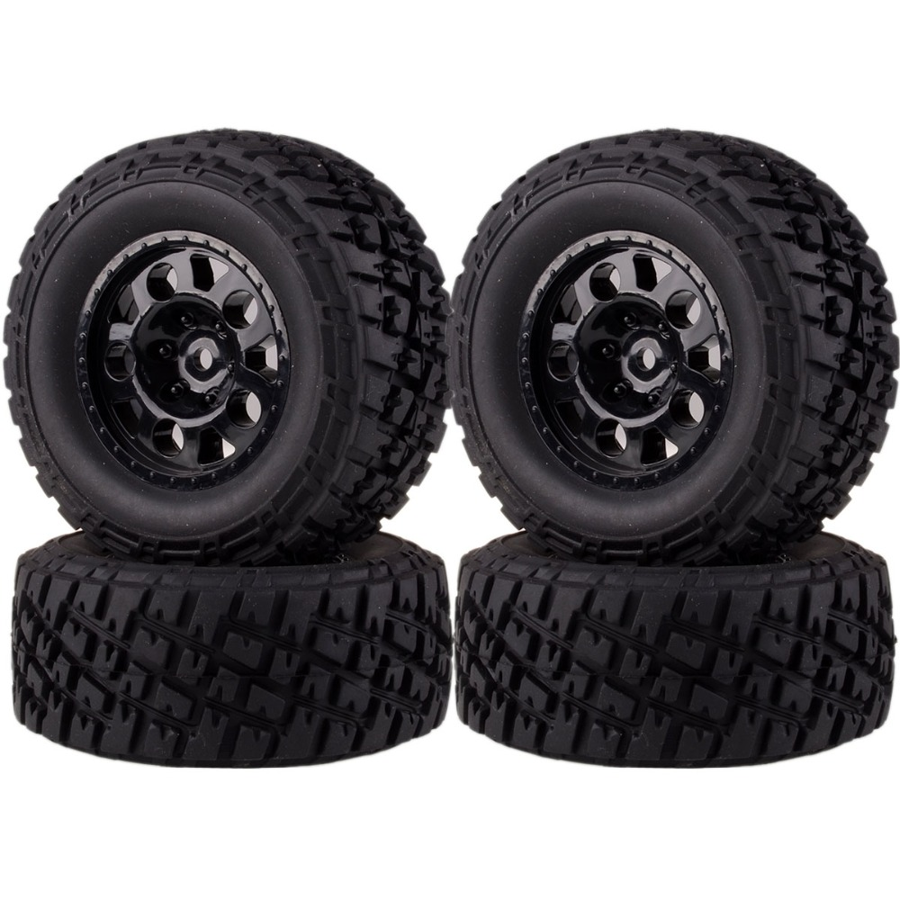 1182-17B 4pcs Front & Rear Wheel Rim & Tire Tyres For 1/10 RC Traxxas Short Course Truck Slash 4x4 4pcs set rc parts 12mm hex bead loc short course ruber tire rims for hpi hsp rc 1 10 traxxas slash