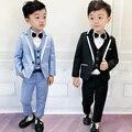 Flor meninos graduação smoking terno para o casamento crianças aniversário vestido blazer colete calças 3 pçs conjunto de roupas crianças cerimônia traje