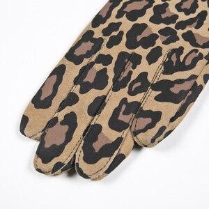 Image 5 - Gours automne et hiver femmes gants en cuir véritable mode nouvelle marque chèvre moufles décontracté conduite imprimé léopard GSL004