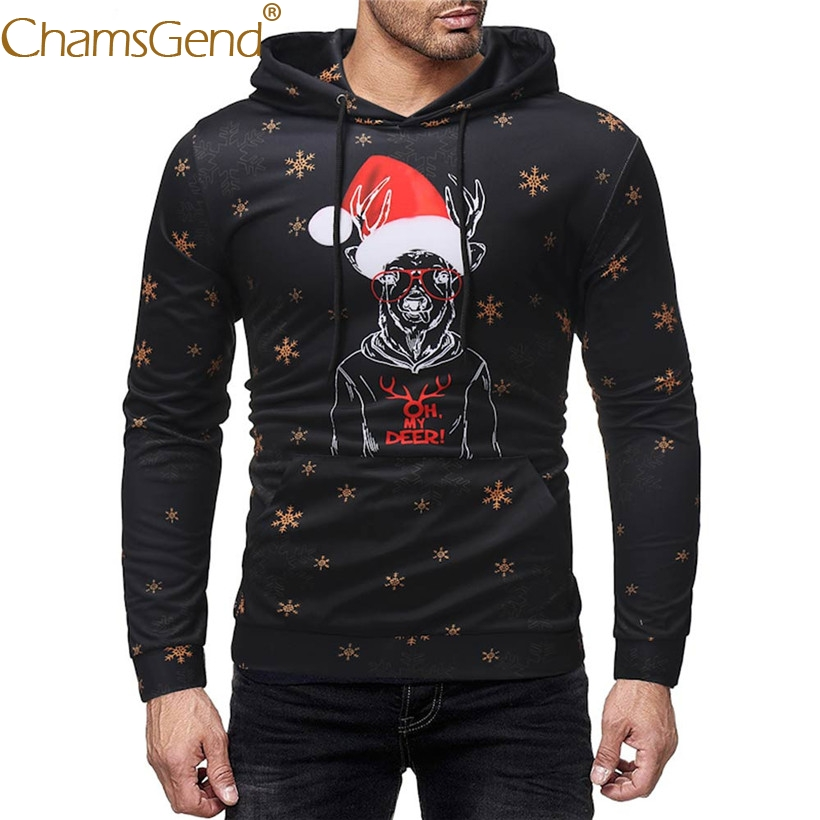 Drop Shipping Funny Men Black Sweatshirts Christmas Reindeer Cartoon Print Hoodies Pullovers Man Tops 80925
