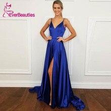 V-Neck Spaghetti Strap Formal Evening Dress Simple Royal Blue Side Slit Long Party Robe De Soiree 2019