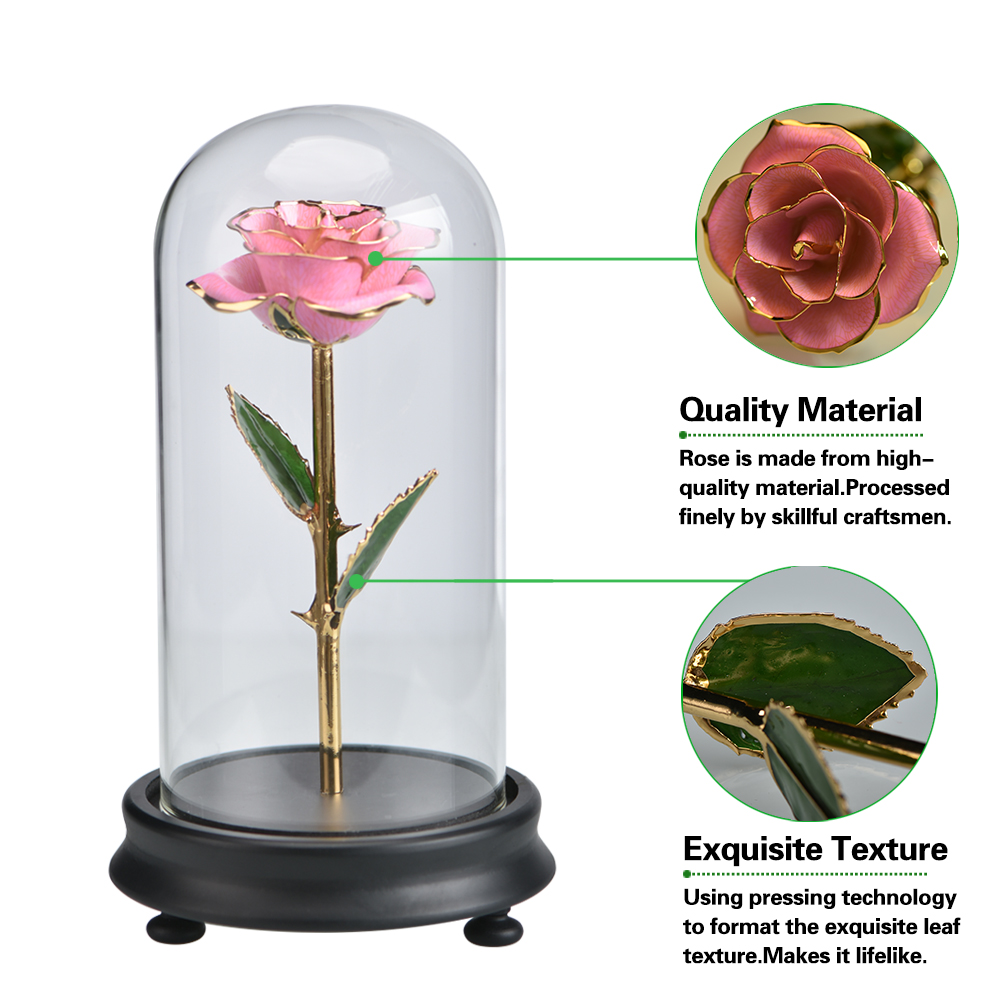 Artificial Flower Pink Metal Rose In Glass Dome Beauty And The Beast