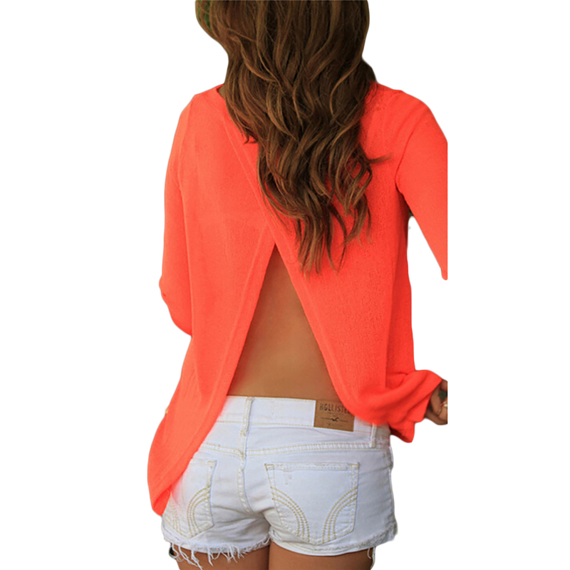 FancyQube Summer Sexy Backless Split Blouse Women's Long Sleeve Chiffon Shirt Back Perspective Loose Short Cropped Tops 2XL