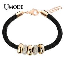 UMODE New Fashion Gold Color Rope Charm Bracelets For Women Austrian Rhinestone Round Circles Pendant Jewelry Pulseiras AUB0074