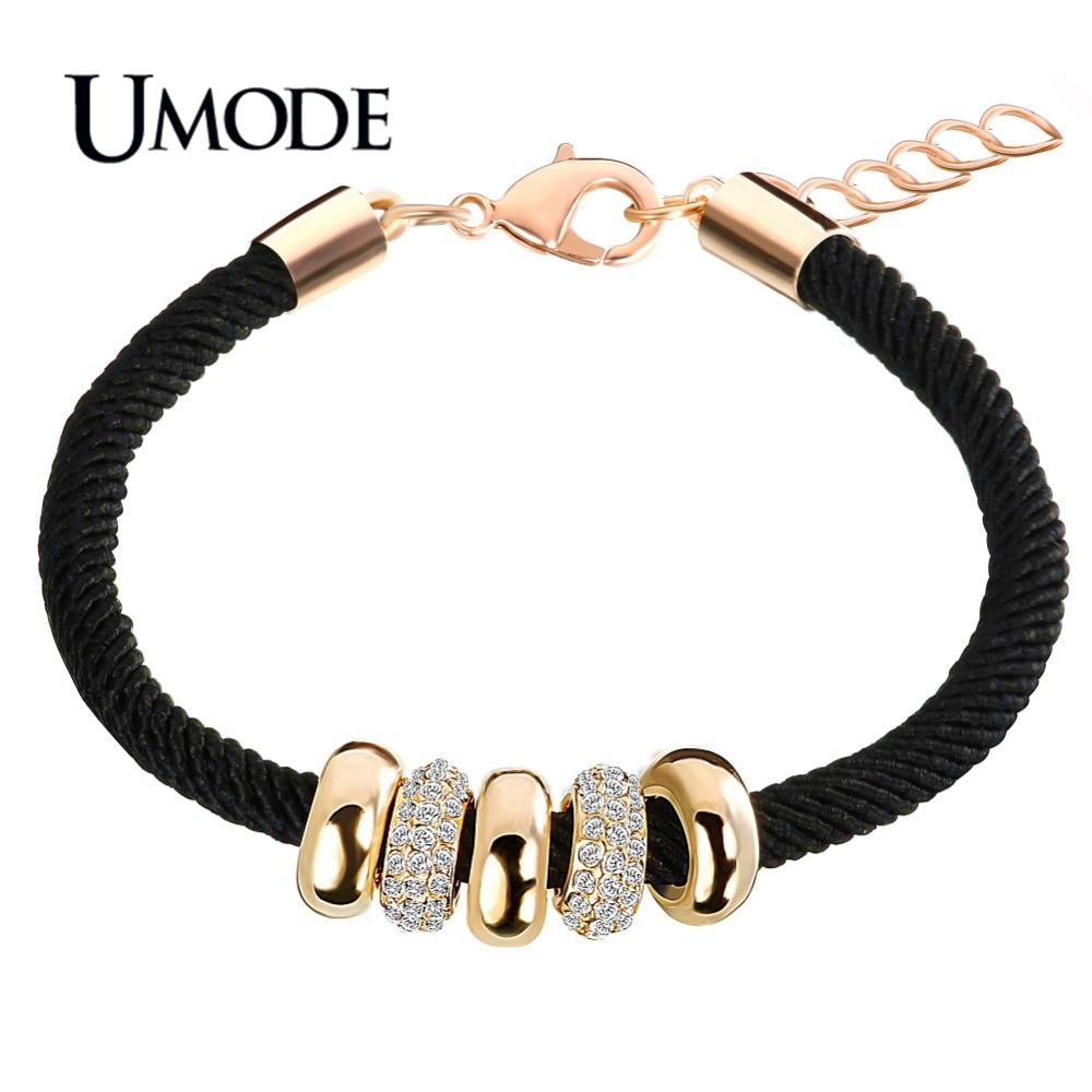 Umode nieuwe mode goud kleur touw charm armbanden voor vrouwen oostenrijkse strass ronde cirkels hanger sieraden pulseiras aub0074