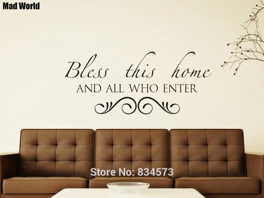 Mad World Bless Home Love Family God Bible Quote Wall Art Stickers Wall Decals Home Diy Decoration Removable Decor Wall Stickers Wall Stickers Aliexpress