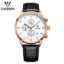 C9201 Hot style CADISEN blue glass real three eyes men's watch high-grade belt men's watch men's quartz watch