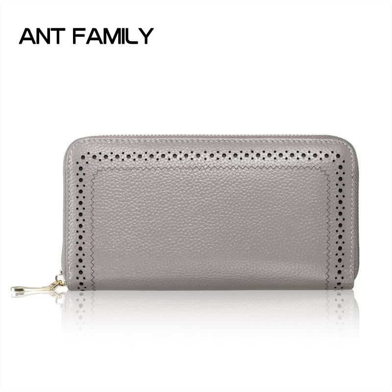 Genuine Leather Wallet Women Luxury Brand Coin Purse Ladies Long Zipper Wallets Cell Phone Wallet Female Card Holder Wallets wallet female famous brand long zipper women s wallets pu leather big dollar money bag lady purse with card coin pocket 500503