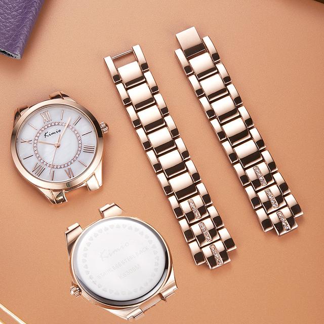 KIMIO Brand Classic Women Bracelet Watches Ladies Natural Seashell Dial Quartz Watch Diamond Inlay relogio feminino reloj mujer
