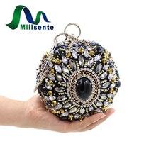 Neue Europäische und Amerikanische Abend Handtasche Frauen Party Mini Ball Form Handtasche Schwarz Gold Silber