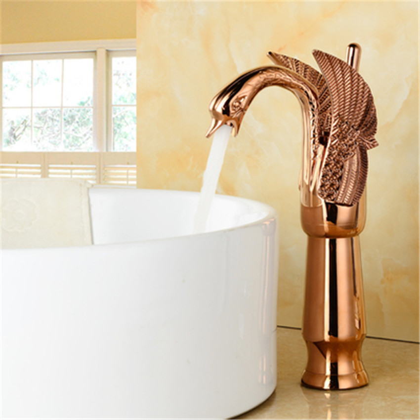 Hot sale  New Design Luxury Copper hot and cold taps Swan faucet Gold plated gold wash basin faucet SY-8005