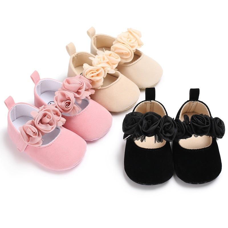 Lovely Glitter Floral Baby Shoes Princess Newborn Toddler Pram Soft Sole Prewalker Anti-slip Baby Shoes 0-18M