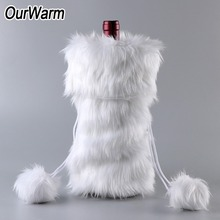 OurWarm Christmas Wine Bottle Cover New Years Decor 33x17cm White Faux Fur Bag Holiday Gifts Decoration for Home