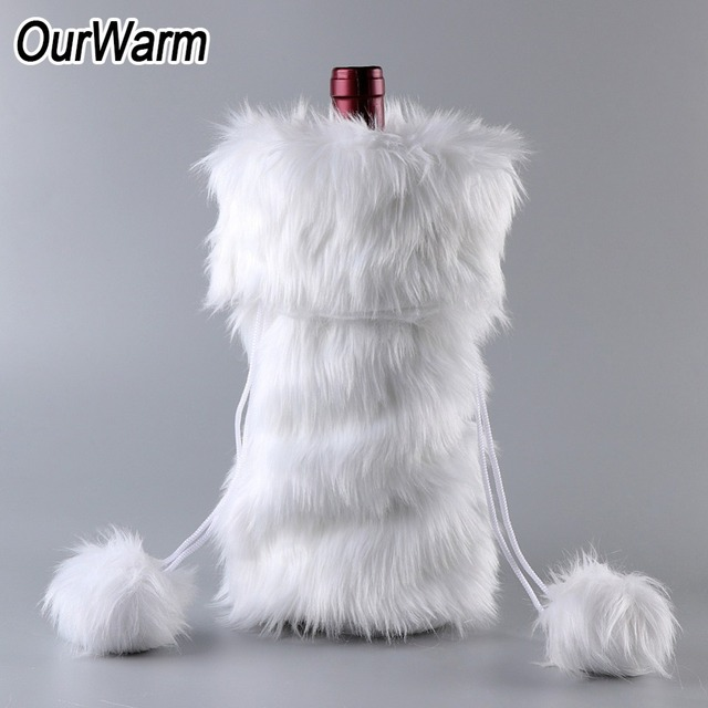 OurWarm Christmas Wine Bottle Cover New Year s Decor 33x17cm White Faux Fur  Wine Bag Holiday Gifts 031c1febd2