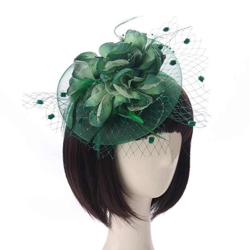 Ladies Royal Fascinators Wedding Races Sinamay Cocktail Fascinator Women Linen Feather Hat Party Fedora Cap