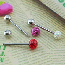 1pc Crystal Ball Tongue Ring 316l Stainless Steel Piercing Jewelry for Women Men