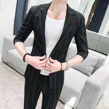 Mid-sleeves New Summer Mid-sleeves Suits Korean Version Striped Two-piece Fashion Japanese Slim Suit Small Size(China)